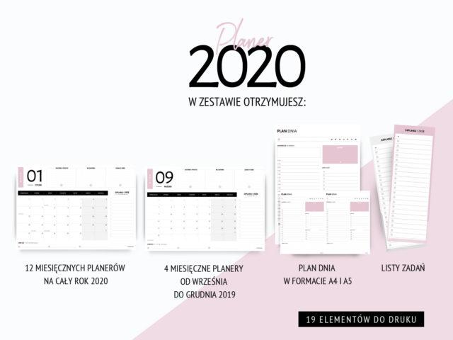 Planer do druku 2020 - różowy