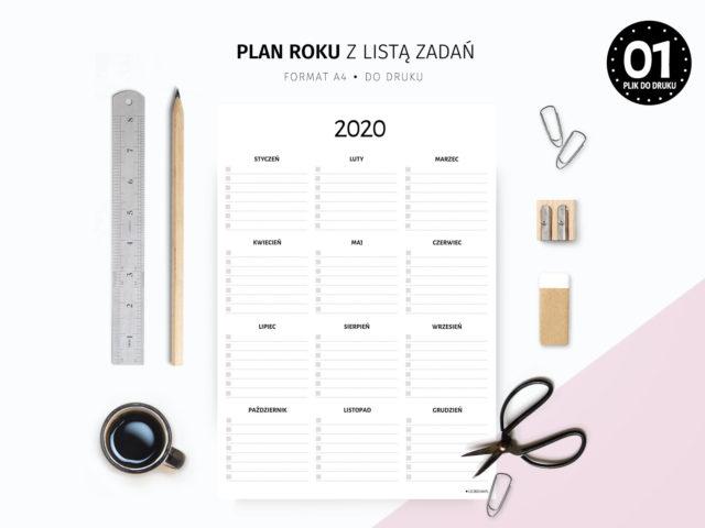 Plan roku z listą zadań do druku
