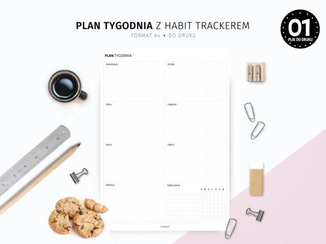 Plan tygodnia z habit trackerem
