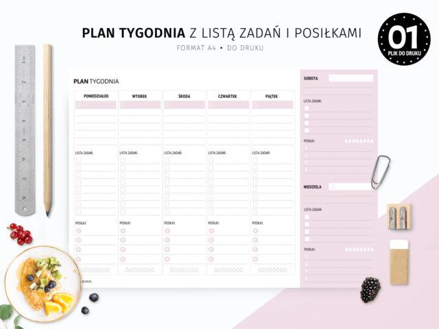 Plan tygodnia z listą zadań i posiłkami do druku