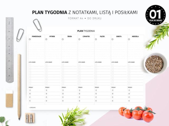 Plan tygodnia z notatkami, listą zadań i posiłkami do druku