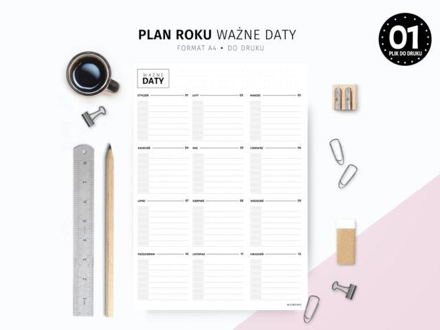 Plan roku Ważne daty do druku
