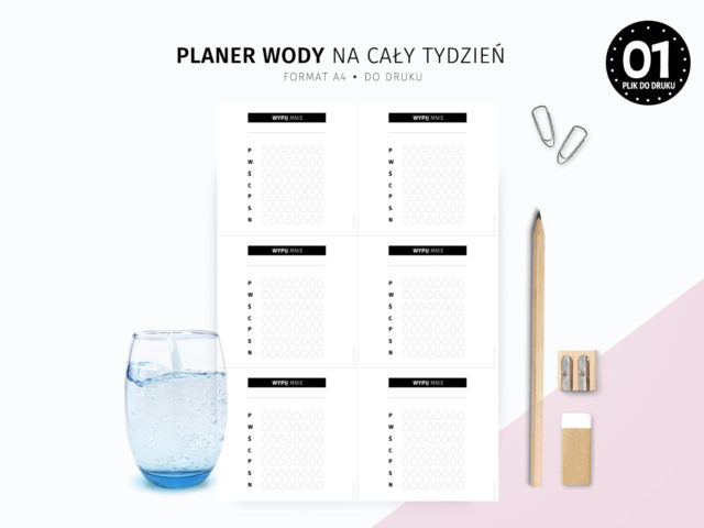 Planer picia wody na cały tydzień - do druku