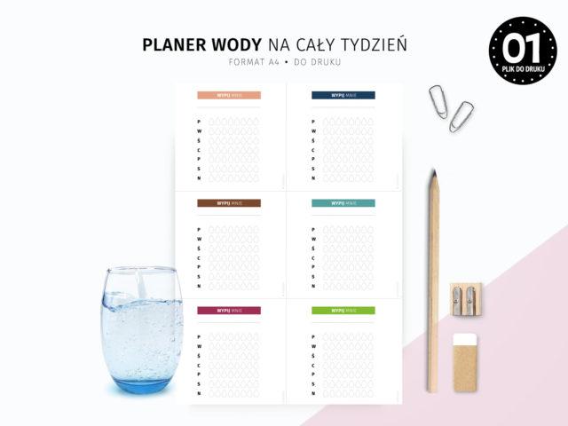 Planer picia wody 6 kolorów do druku