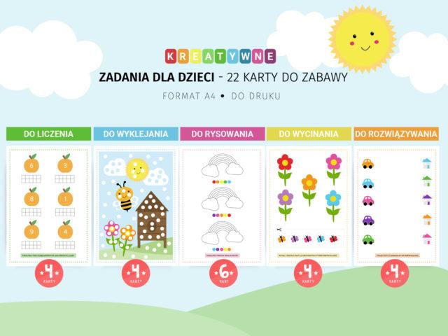 Zadania dla dzieci - 22 karty do zabawy do druku