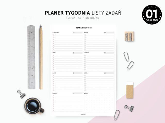 Planer tygodnia z listami zadań