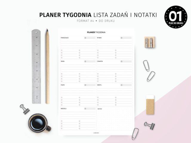 Planer tygodnia z listami zadań i notatkami