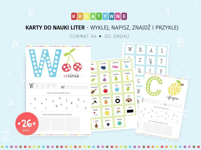 Karty do nauki liter - wyklej, napisz, znajdź i przyklej