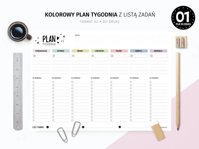 Kolorowy plan tygodnia z listami zadań do druku