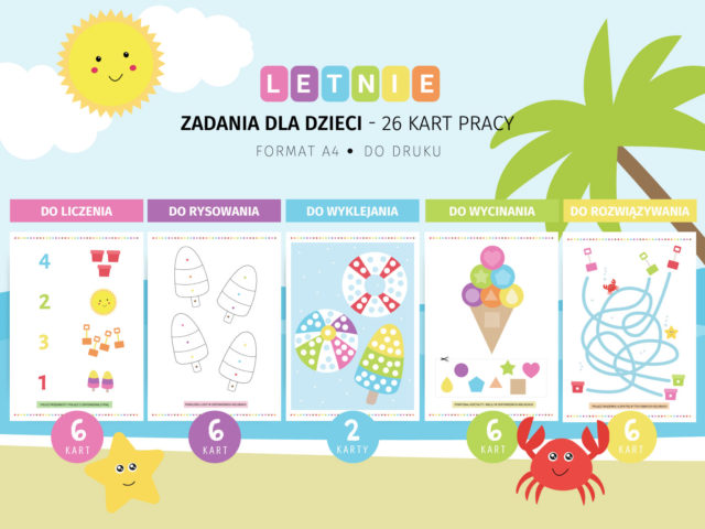 Letnie karty pracy dla dzieci - 26 karty do zabawy do druku