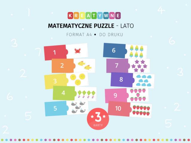 Letnie matematyczne puzzle - 3 karty do druku
