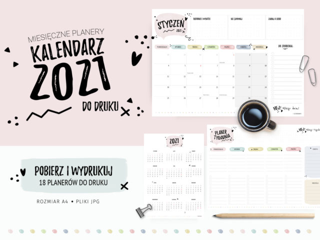Kalendarz 2021 do druku - Pastelowe planery