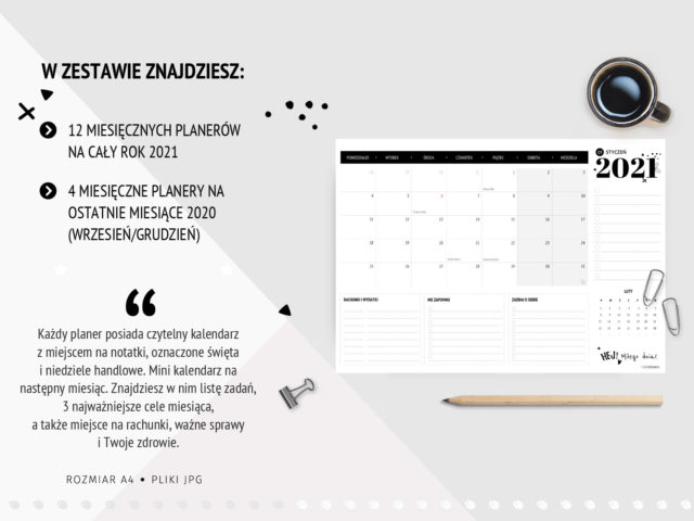 Miesięczne planery 2021 do druku z kalendarzem