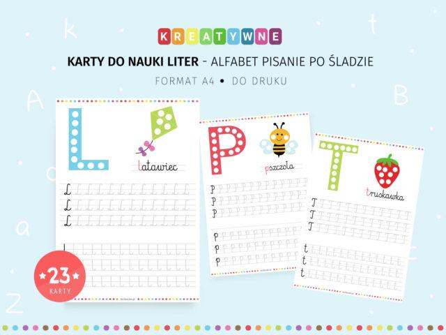 Alfabet pisanie po śladzie - 23 karty pracy do druku