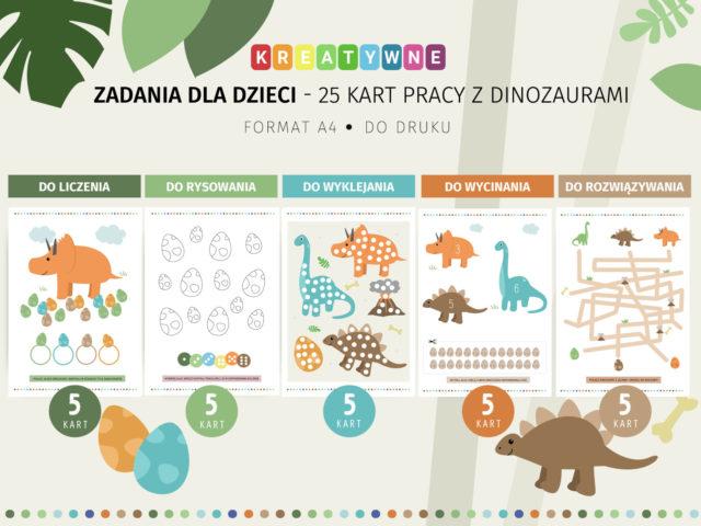 25 karty pracy z dinozaurami do druku