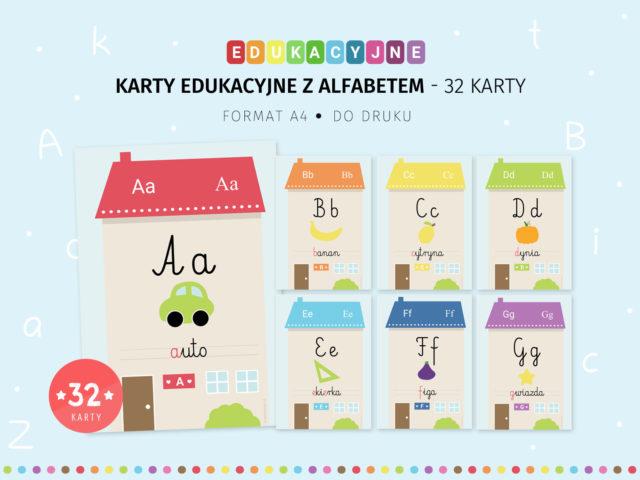 Karty edukacyjne z alfabetem - 32 karty z literami do druku