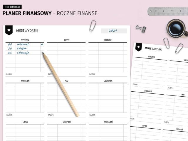 Planer finansowy - roczne finanse do druku