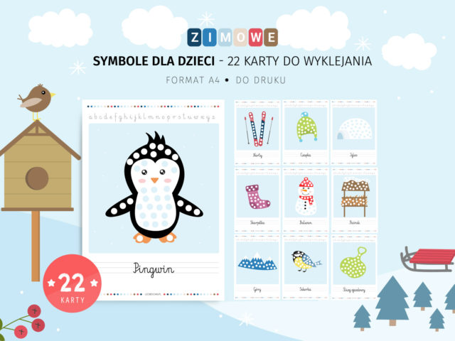 Zimowe symbole do wyklejania - 22 karty do druku