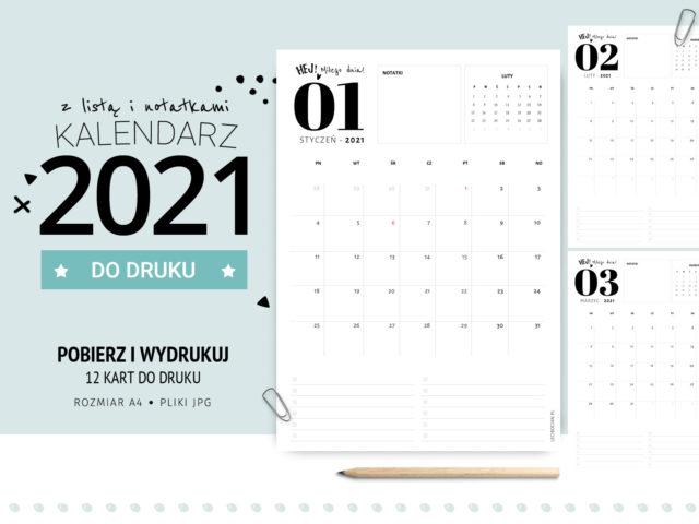 Kalendarz 2021 z listą zadań, notatkami i mini kalendarzem - do druku