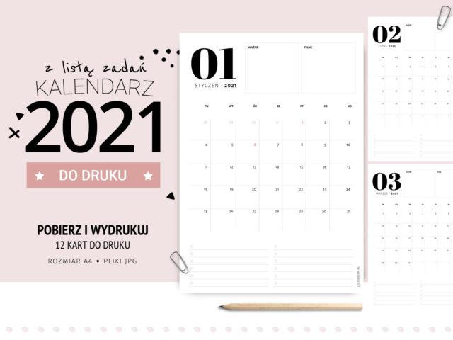Kalendarz 2021 z listą zadań i notatkami - do druku