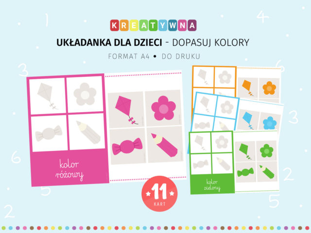 Układanka dla dzieci - Dopasuj kolory - do druku
