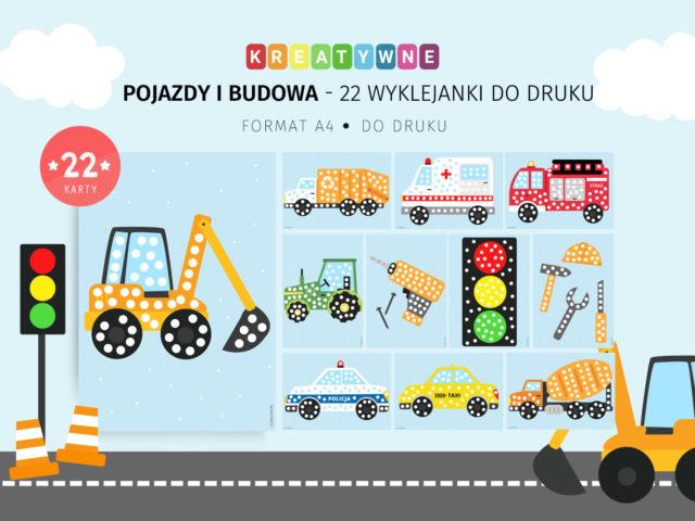 Pojazdy i budowa - 22 karty pracy do wyklejania do druku