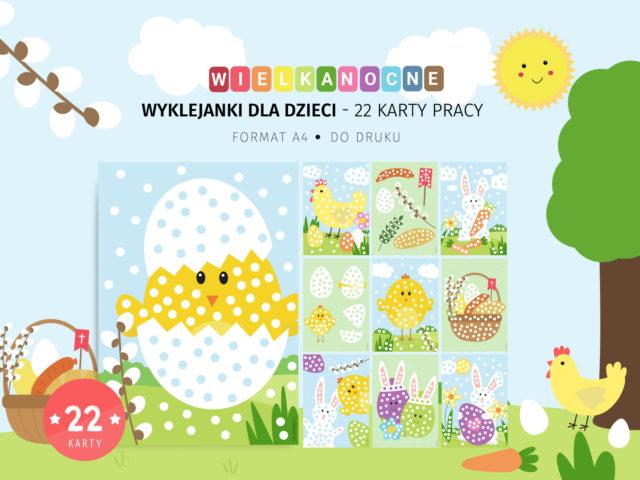 Wielkanocne wyklejanki - 22 karty pracy do druku