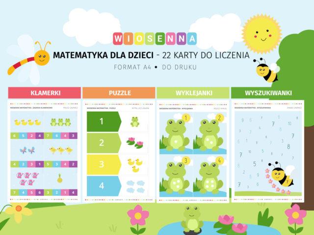 Wiosenna matematyka - 22 karty do liczenia do druku