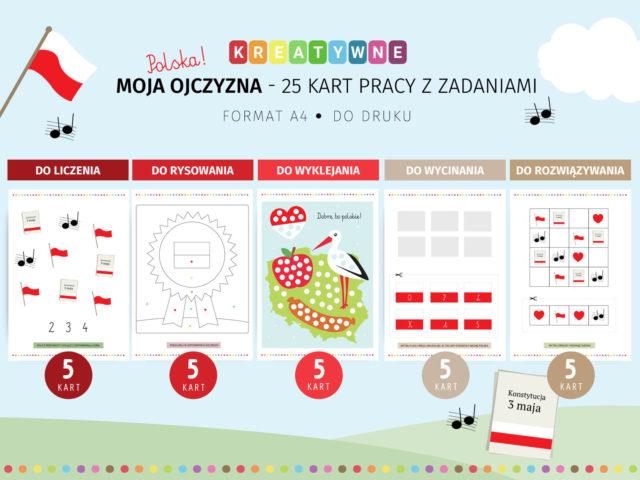 Karty pracy Moja ojczyzna Polska - 25 kart pracy do druku