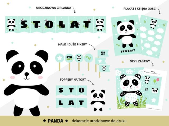 Panda - Dekoracje urodzinowe do druku
