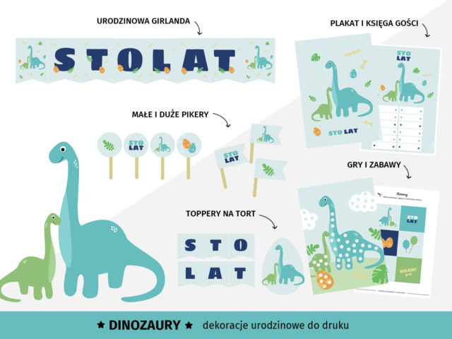 Dinozaury - Dekoracje urodzinowe do druku
