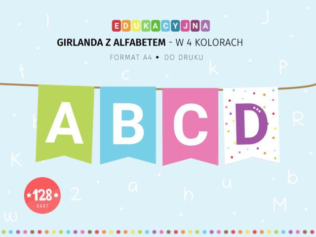 Girlanda z alfabetem w 4 kolorach - do druku