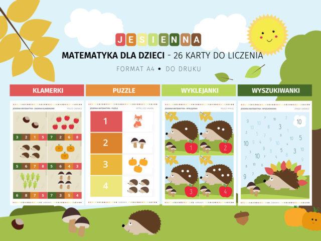 Jesienna matematyka - 22 karty do liczenia do druku