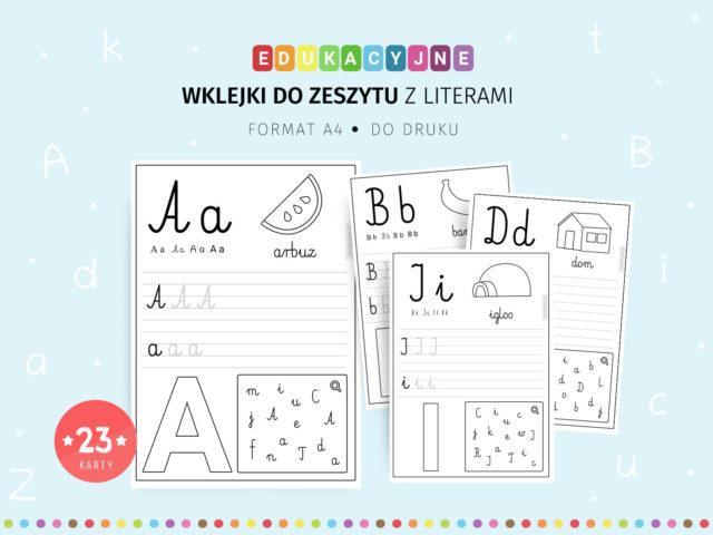Litery - wklejki do zeszytu z zadaniami do druku
