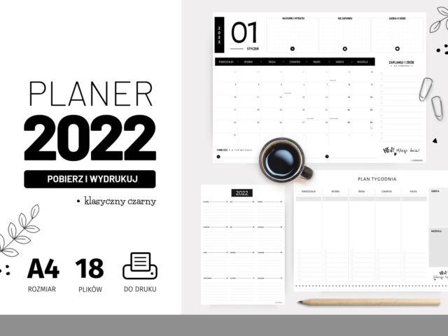 Planery 2022 do druku – Klasyczny czarny