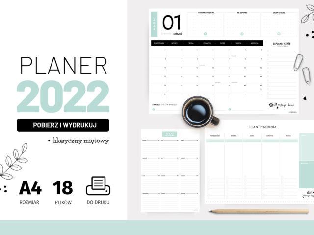 Planery 2022 do druku – Klasyczny miętowy