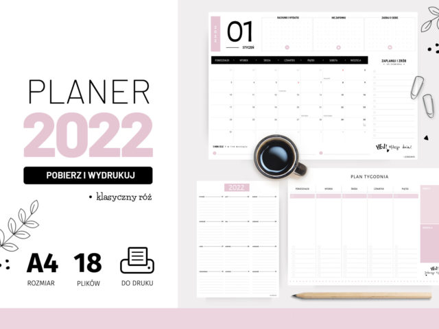 Planery 2022 do druku – Klasyczny róż