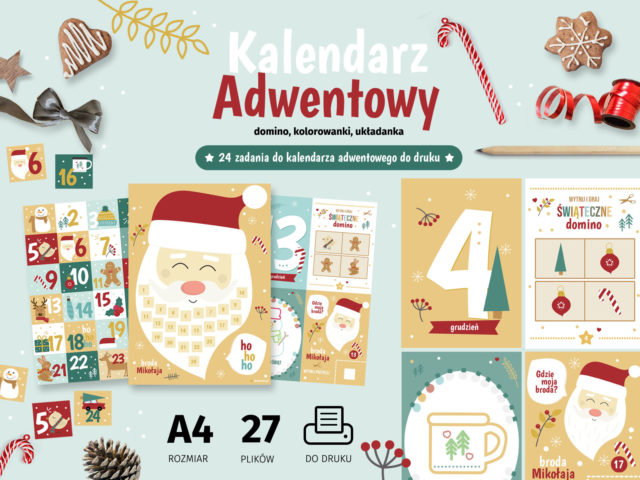 Zadania do kalendarza adwentowego - domino i kolorowanki