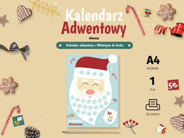 Kalendarz adwentowy Mikołaj - do druku