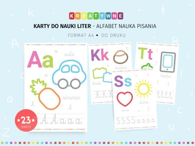 Alfabet nauka pisania - obrysuj i koloruj do druku